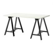 LINNMON / ODDVALD Table, white, black - 599.331.79