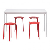MELLTORP / MARIUS Table and 4 stools, white, red - 090.107.02