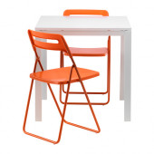 MELLTORP / NISSE Table and 2 folding chairs, white, orange $84.98 - 890.292.98