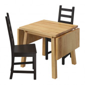 MÖCKELBY / KAUSTBY Table and 2 chairs, oak, brown-black - 491.032.14