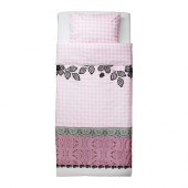 MYSTISK Duvet cover and pillowcase(s), lace pink - 702.365.23
