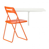 NORBERG / NISSE Table and 1 chair, white, orange - 990.106.51