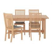 NORDEN / NORRNÄS Table and 4 chairs, birch, Isunda gray - 990.107.31