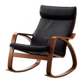 POÄNG Rocking chair, medium brown, Glose Robust black - 499.039.36