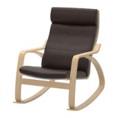 POÄNG Rocking chair, birch veneer, Robust Glose dark brown - 898.610.10