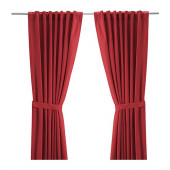 RITVA Curtains with tie-backs, 1 pair, red - 202.109.12
