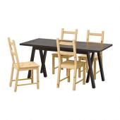 RYGGESTAD/ GREBBESTAD / IVAR Table and 4 chairs, black, pine - 691.026.28
