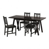 RYGGESTAD/ GREBBESTAD / STEFAN Table and 4 chairs, black, brown-black - 990.472.49