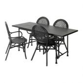 RYGGESTAD/ KARPALUND / ÄLMSTA Table and 4 chairs, black, rattan black - 391.025.35
