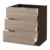 SEKTION Base cabinet f/cooktop w/3drawers, brown Förvara, Brokhult walnut - 690.446.19