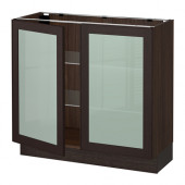 SEKTION Base cabinet with 2 glass doors, brown, Ekestad brown - 390.415.80