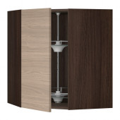 SEKTION Corner wall cabinet with carousel, brown, Brokhult walnut - 690.405.17
