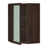 SEKTION Corner wall cabinet with glass door, brown, Ekestad brown - 090.415.91