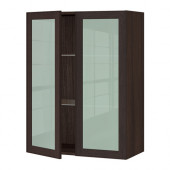 SEKTION Wall cabinet with 2 glass doors, brown, Ekestad brown - 190.356.41