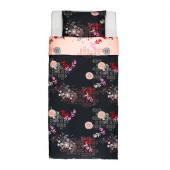 SILKESLEN Duvet cover and pillowcase(s), unicorn black, pink - 202.365.73