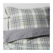 SNÄRJMÅRA Duvet cover and pillowcase(s), check, green - 402.829.55