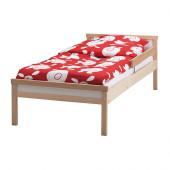 SNIGLAR Bed frame with slatted bed base, beech - 398.239.78