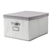 SVIRA Box with lid, gray, white flowers - 103.002.96