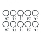 SYRLIG Curtain ring with clip and hook, silver color - 502.199.54