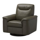 TIMSFORS Swivel recliner, Mjuk, Kimstad dark green - 902.729.54