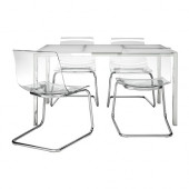 TORSBY / TOBIAS Table and 4 chairs, glass white, clear - 199.321.48