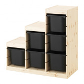 TROFAST Storage combination, pine, black - 491.021.44