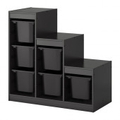 TROFAST Storage combination with boxes, black - 990.063.81