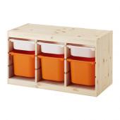 TROFAST Storage combination with boxes, pine white, orange - 491.026.53