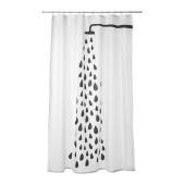 TVINGEN Shower curtain, white, black - 302.495.70