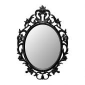 UNG DRILL Mirror, oval, black - 402.137.59