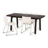 VÄSTANBY/ VÄSTANÅ / BERNHARD Table and 4 chairs, dark brown, Kavat white - 491.031.86
