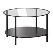 VITTSJÖ Coffee table, black-brown, glass - 802.133.09